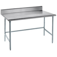 Advance Tabco TKAG-365 36 inch x 60 inch 16 Gauge Open Base Stainless Steel Commercial Work Table with 5 inch Backsplash