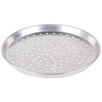 American Metalcraft PHADEP14 14 inch x 1 inch Perforated Heavy Weight Aluminum Tapered / Nesting Deep Dish Pizza Pan