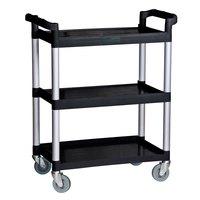 Choice Black Three Shelf Utility Cart / Bus Cart - 32 inch x 16 inch x 38 inch