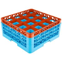 Carlisle RG16-3C412 OptiClean 16 Compartment Glass Rack with 3 Color-Coded Extenders - Orange / Carlisle Blue