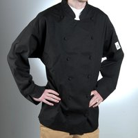 Chef Revival J017BK-2X Chef-Tex Breeze Size 52 (2X) Black Customizable Cuisinier Chef Jacket