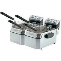 Waring WDF1000D Double Heavy Duty 10 lb. Commercial Countertop Deep Fryer Set -120V