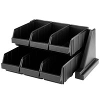 Cambro 6RS6110 Black Versa Self Serve Condiment Bin Stand Set with 2-Tier Stand and 12 inch Condiment Bins