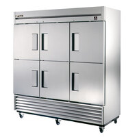 True TS-72-6 78 inch Stainless Steel Three Section Solid Half Door Reach In Refrigerator - 72 Cu. Ft.