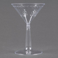 Fineline Flairware 2306 6 oz. Plastic Martini Glass with Clear Base - 2 Piece 12 / Pack