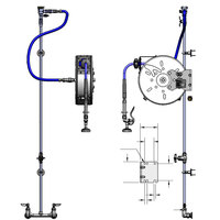 T&S B-1458 30' Enclosed Stainless Steel Hose Reel Assembly with Exposed Piping and Accessories