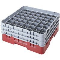 Cambro 49S434416 Cranberry Camrack 49 Compartment 5 1/4 inch Glass Rack