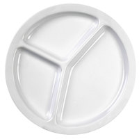 Nustone White Melamine 3 Compartment Plate 10 inch - 12 / Pack