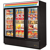 True Refrigeration GDM-72F-LD Black Three Glass Door Merchandiser Freezer with LED Lighting - 72 Cu. Ft.