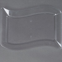 Fineline Wavetrends 1406-CL 6 1/2 inch x 10 inch Clear Plastic Salad Plate - 10 / Pack