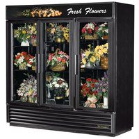 True GDM-72FC-LD Black Three Glass Swing Door Floral Case - 72 Cu. Ft.