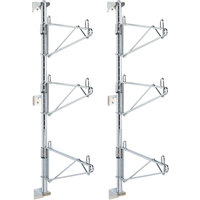 Metro SW55C Super Erecta Chrome Triple Level Post-Type Wall Mount End Unit for 24 inch Deep Shelf