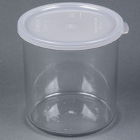 Cambro CCP12152 1.2 Qt. Clear Round Crock with Lid - 12 / Case