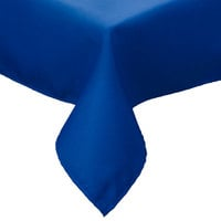 81 inch x 81 inch Royal Blue Hemmed Polyspun Cloth Table Cover