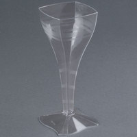 Fineline Wavetrends 1208 Clear Plastic 8 oz. Wine Glass - 6/Pack