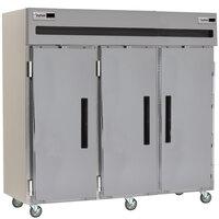 Delfield 6176XL-S 77 inch Three Section Solid Door Reach in Freezer - 66.5 cu. ft.