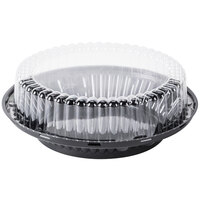 D&W Fine Pack J43 9 inch Black Pie Display Container with Clear High Dome Lid - 10 / Pack