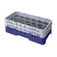 Cambro 17HS434186 Camrack 5 1/4 inch High Navy Blue 17 Compartment Half Size Glass Rack