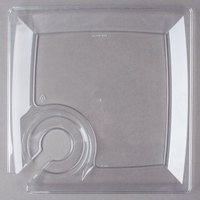 "WNA Comet MSCTL 8"" Clear Square Milan Plastic Cocktail Plate with Cup Holder   - 120/Case"