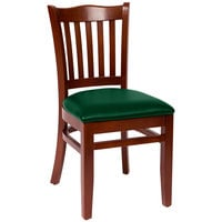 BFM Seating LWC7218MHGNV Princeton Mahogany Beechwood School House Side Chair with 2 inch Green Vinyl Seat