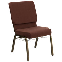 Brown 18 1/2 inch Wide Church Chair with Communion Cup Book Rack - Gold Vein Frame