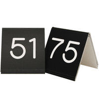 Cal-Mil 269C-2 Black Engraved Number Tent Sign Set 51-75 - 3 inch x 3 inch