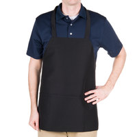 Chef Revival 602PS-BK Customizable Professional Front of the House Black Polyester 3-Pocket Bib Apron - 27 inchL x 24 inchW