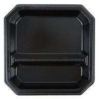 Genpak SQ29 Premium 9 inch Laminated Black Square 2 Compartment Foam Plate - 400/Case