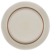 Homer Laughlin 1492-0333 Gothic Red Jade 10 inch Off White Mid Rim Plate - 24/Case