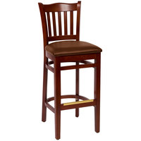BFM Seating LWB7218MALBV Princeton Mahogany Beechwood School House Bar Height Chair with 2 inch Brown Vinyl Seat
