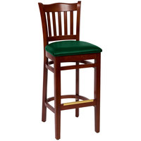 BFM Seating LWB7218MHGNV Princeton Mahogany Beechwood School House Bar Height Chair with 2 inch Green Vinyl Seat