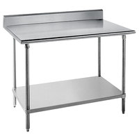 "Advance Tabco KAG-365 36"" x 60"" 16 Gauge Stainless Steel Commercial Work Table with 5"" Backsplash and Galvanized Undershelf"