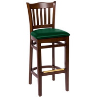 BFM Seating LWB7218WAGNV Princeton Walnut Beechwood School House Bar Height Chair with 2 inch Green Vinyl Seat