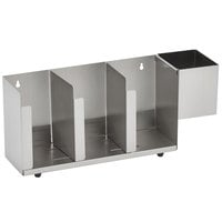 Vollrath CTL3 Wall Mount / Countertop 3 Slot Stainless Steel Adjustable Lid Organizer with Straw Holder