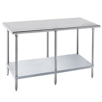 Advance Tabco GLG-368 36 inch x 96 inch 14 Gauge Stainless Steel Work Table with Galvanized Undershelf