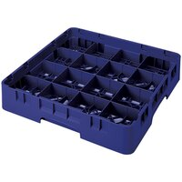 Cambro 16S418-186 Camrack 4 1/2 inch High Navy Blue 16 Compartment Glass Rack