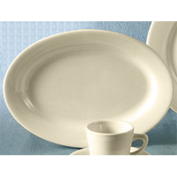 CAC REC-39 American White (Ivory / Eggshell) Wide Rim 8 1/8 inch x 5 5/8 inch Rolled Edge China Platter 24 / Case