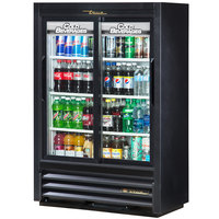 True GDM-33SSL-54-LD Black Narrow Depth Sliding Glass Door Convenience Store Merchandiser Refrigerator - Low Profile 11 Cu. Ft.