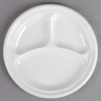 Dart Solo 10CPWF 10 1/4 inch White 3 Compartment Famous Service Impact Plastic Plate - 125/Pack