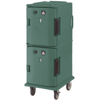 Cambro UPCH8002192 Granite Green Ultra Camcart Two Compartment Heated Holding Pan Carrier with Casters, Both Compartments Heated - 220V (International Use Only)
