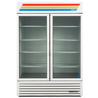 True GDM-33-HC-LD-WHT-WHTTRM 39 1/2 inch White Refrigerated Sliding Glass Door Merchandiser with LED Lighting and White Trim