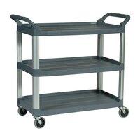 Rubbermaid FG409100GRAY 300 lb. X-Tra Three Shelf Utility Cart / Bus Cart 40 inch x 20 inch x 37 inch