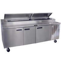 Delfield 18691PTBM 91 inch Three Door Refrigerated Pizza Prep Table