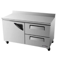 Turbo Air TWR-60SD-D2 60 inch Super Deluxe One Door, Two Drawer Worktop Refrigerator - 16 Cu. Ft.