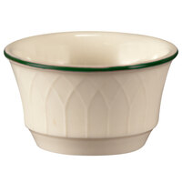 Homer Laughlin 1430-0146 Green Jade Gothic Off White 3.5 oz. Ramekin - 36/Case