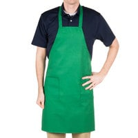 Choice Kelly Green Full Length Bib Apron with Pockets - 34 inchL x 30 inchW