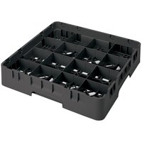 Cambro 16S1114110 Camrack 11 3/4 inch High Black 16 Compartment Glass Rack