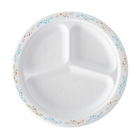 Huhtamaki Chinet 22517 9 1/4 inch 3-Compartment Molded Fiber Round Plate with Vines Design - 500/Case