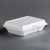 Dart Solo 206HT1PR 9 inch x 6 inch x 3 inch White Foam Shallow Rectangular Take Out Container with Hinged Lid and Embossed Prosperity Design - 200 / Case