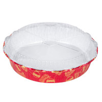 Durable Packaging 9101X 8 inch Round Holiday Foil Bake Pan with Clear Dome Lid - 100 / Case